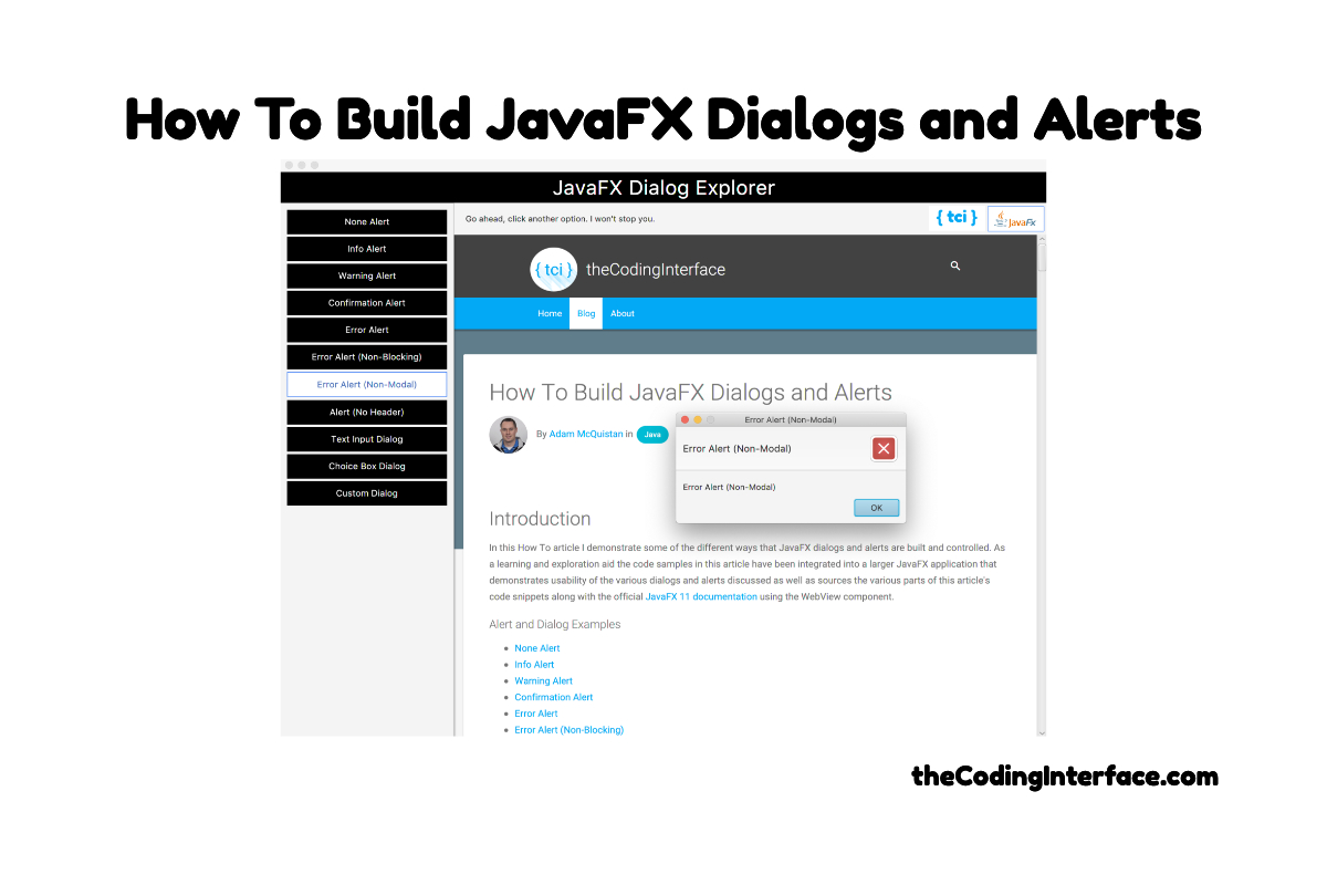 How To Build JavaFX Dialogs and Alerts | The Coding Interface