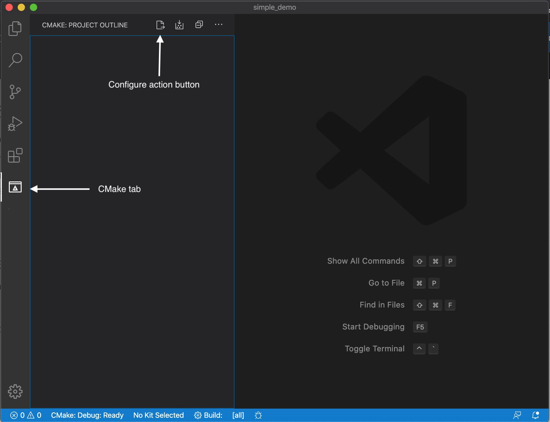 VS Code CMake Tools tab